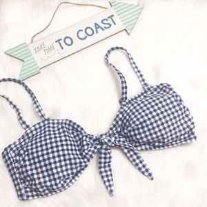 NWT Super Cute Summer Blue Gingham Bikini Swim Top